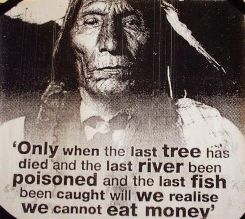 """""""Only when the last tree has died and the last river been poisoned and the last fish been caught will we realise we cannot eat money""""  Chief Luther Standing Bear"""